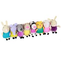 8PCS/LOT 2014 New Toys Cute Peppa Friends Stuffed Plush Toys Dog Cat Sheep Rabbit Elephant  Pepa Peppa Pig Friends Family Set