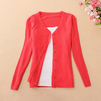 2014 spring sweater women slim V-neck long-sleeve pearl button cardigan free size