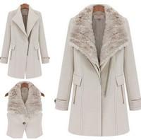 Winter Fur Collar Women Outerwear Coats/Long-sleeve Slim Woolen Thick Spliced Women's Winter Coat With Vest free shipping