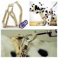 nylon 1.5*120cm length chest adjustable 38~58cm Classic leopard pet Harnesses Dog Leads Pet Harness & leashes set HL10