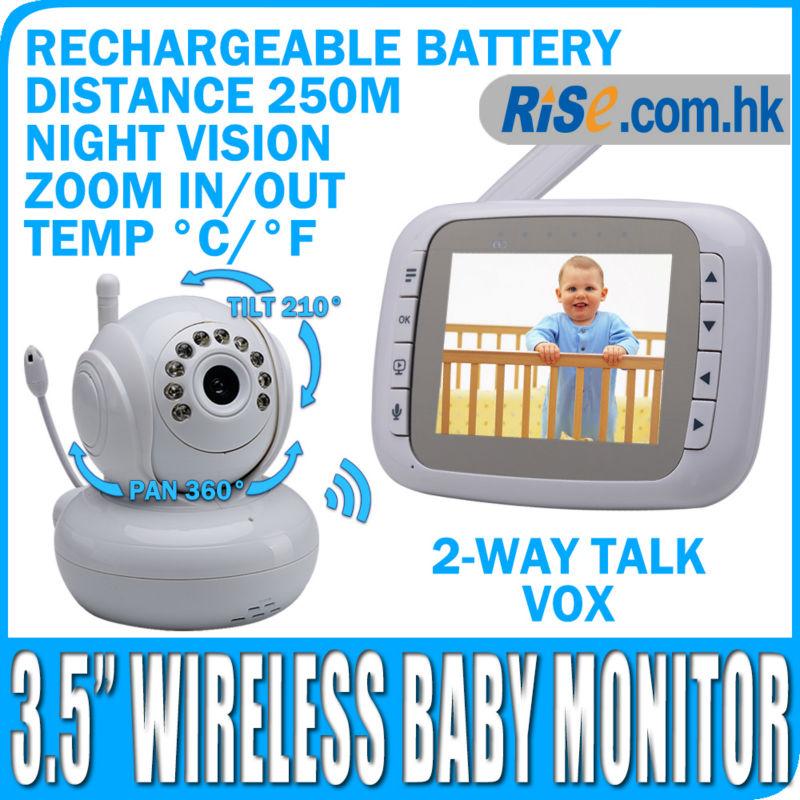 Camera Digital Night Vision Pan Tilt PTZ Zoom Video 3.5 Wireless Baby Monitor(Hong Kong)