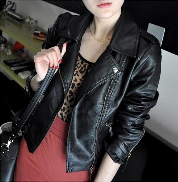 2014 Spring and Autumn women's PU motorcycle clothing female short design slim leather jacket leather coat(China (Mainland))