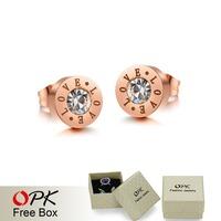 "OPK JEWELRY Korean Fashion Mosaic Zircon Rose Gold Plated Stud earrings engrave ""LOVE"" letters elegant women jewelry  628"