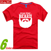 2014 The Most Fashionable SPORTS FEAR THE BEARD Short-sleeve O-neck Casual Comfortable T-shirts Sport men T shirts DIY Clothes