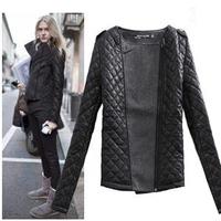 New 2014 Women Winter Coat Retro Epaulette mosaic fashion o-neck slim cotton-padded woolen short jacket 19008*
