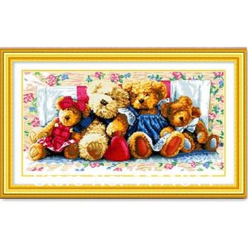 Вышивка крестом рукоделие, Сделай сам DMC вышивка крестом медведь мультфильм, Комплект для вышивания, Семья из медведи шаблоны счетный кросс-колющие