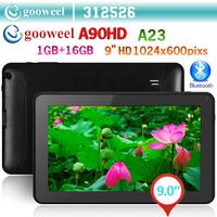 Gooweel A90HD A23 Dual core 1.5GHz tablet pc 9inch HD Screen 1024x600pixs 1GB RAM 16GB ROM Android4.2 WIFI Dual Camera Bluetooth