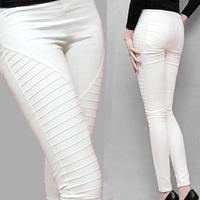 2014 Spring-summer New Hot Sales Leisure Fold Feet White Black Blue Red wine Women Plus velvet Long Pencil Hip pants Size S-XXL