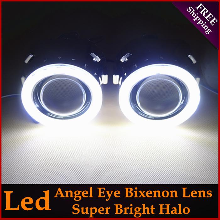 LHD/ RHD Retrofit Mini H1 2.5 inch HID Bi-Xenon Projector Headlight Lens Kit H1 H4 H7 With LED White Angel Eyes Halo Car Styling(China (Mainland))