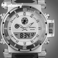 INFANTRY Royal Aviator Men's Digital Analog Wrist Watch White Dial Backlight Black Rubber NEW Fashion Stylish Stopwatch
