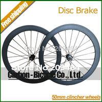 New product! Disc brake road 50mm clincher bicycle wheels 700c carbon fiber disc brake road bike racing wheelset