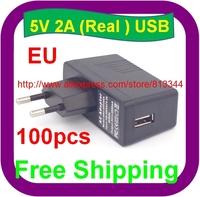 100 pcs Free Shipping High quality EU Plug AC 100-240V /DC 5V 2A 2000mA USB Charger Adapter Power Supply Wall Home Office