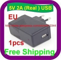 1 pcs Free Shipping High quality EU Plug AC 100-240V /DC 5V 2A 2000mA USB Charger Adapter Power Supply Wall Home Office