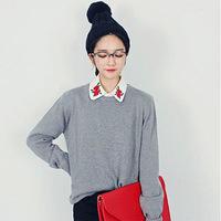 Vintage Embroidery Rose Flower White Blouse Korean Women Small Turn-down Collar Long Sleeve Cotton Shirt