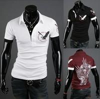 Top Brand 2014 New Men's Clothing Casual men Shirt Eagle Print Short-sleeve Man T Shirts M/L/XL/XXL,Free Shipping,R1393