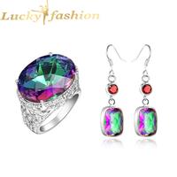 Fashion Beautiful Fire Mystic Topaz 925 Silver Classic Earrings&Ring Wedding Crystal Jewelry Fashion Jewelry Set