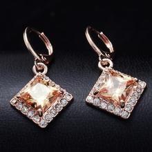 Dropship Free shipping18K Rose Gold Filled Fashion Design beautiful Cubic zirconia sexy Lady Women Earring Dangler JewelryCZ0373