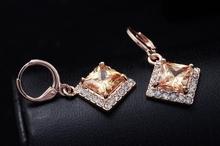 Dropship Free shipping18K Rose Gold Filled Fashion Design beautiful Cubic zirconia Lady Women Earrings Dangler JewelryCZ0373