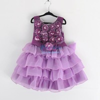 2014 Summer New Arrival Kids Girls Princess Dress Bowknot Tutu Dress Flower One Piece Dress White 5 Sizes 20073