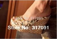 Free Shipping comfortable Bohemian Wedge Women Sandals Lady Shoes and Slipper High Wedge Flip Flops Drop Shipping Women Pumps