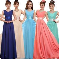 new arrival 2015 spring plus size XXXXXL V-neck  long design slim chiffon blue evening dress green party dresses
