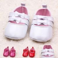 Free Shipping Fashion PU Shiny Small Bowknot Baby Shoes Princess Toddler Shoes