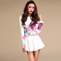 2014 New Europe Brand Women Spring Black/White Peony Print Celebrity Ladies Fashion Cute Clothing Set Skirt +  Long Sleeve top