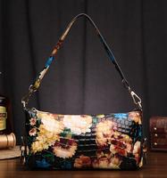Fashion 2014 paint women's handbag women's leather shoulder bag messenger bag leopard print genuine leather women's handbag