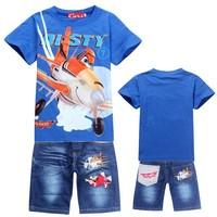 New 2014 Retail Children Set Cartoon DUSTY PLANE fashion suit boys jeans sets t-shirt+pant 2pcs Kids Clothing