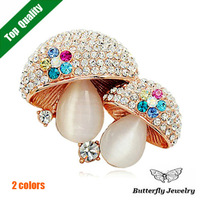Top Quality Opal Brooches Cute Mushroom Brooch 18K Rose Gold Plated Flower Pin Women Gift Bouquet