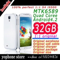 Top Selling  1:1 i9500 SIV S4 Phone MTK6589 Quad Core 1.6GHz Android4.4 13MP Ram 1G 16GB ROM 3G WIFI GPS With Oiginal Box