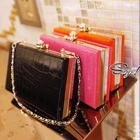 Hot 2014 Fashion candy color crocodile pattern women's handbag clutch bag mini chains box bag call phone bag women messenger bag
