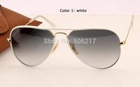 2015 new top quality original box case men women sunglasses aviator full color 3025 JM 146/32 58mm White Gold Grey Gradient 58mm