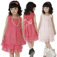 Платье для девочек fashion children summer clothes Baby Kids lace princess dress little girl party dress with bow Polka Dot Pink KYZCZ021