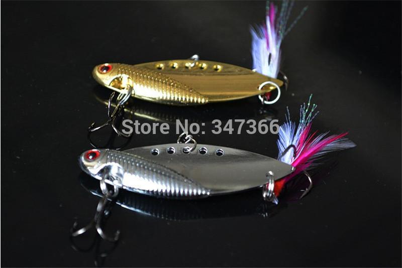 VIB metal temptations Flying fish 3D Simulation Eye 2pcs/10g/50mm vibration fishing Silver/Crystal Feather(China (Mainland))
