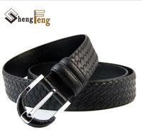New  arrival Mens Genuine Leather men Belt Alloy Buckle high quality fashion belt  knit belt for man  L3015 cintos cinturon