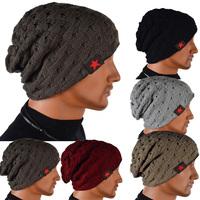 Men's Knit Winter Hat Beanie Reversible Skull Chunky Baggy Warm Cap Free Shipping