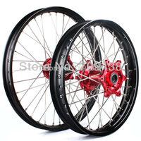 1Set Wheel rim Hub Spoke Motorcycle Wheels Front 21x1.6 Rear 18x2.15 For HONDA CRF 250 450 R 2002 2004 2005 2006 2008 Red