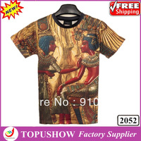 2014 New Fashion Egypt Mural T shirts 3D Printed T-shirts Women/Men Pullover Tops Summer Plus Size Couples Shirts Free Shipping