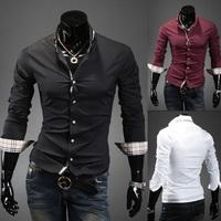 Free Shipping 2014 Solid Edge casual plaid long-sleeved shirt Slim shirt cotton casual shirt