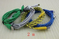 Hotsale 5pcs For Samsung For HTC For Nokia 2M Micro USB Charger 6FT Braid Woven Fabric Knitted Cable Sync Charging Cord Colorful
