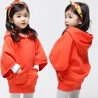 Children's clothing female child batwing sleeve plus velvet thickening thermal with a hood casual outerwear sweatshirt o12