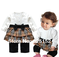 Newborn Kids Toddlers Infant Baby Girl Plaids Cotton Romper bodysuits Jumpsuit Bowknot Dress Outfit Clothes Costume White Coffee
