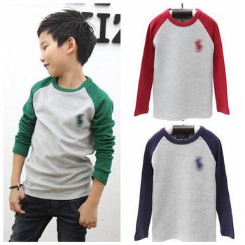 Новая коллекция весна дети рубашка 100% хлопок марка прохладный мальчика футболка с длинным рукавом 3 цвета детская одежда