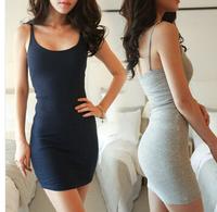 2014 New  Summer dress Sexy fashion Women Spaghetti Strap Bodycon Bottoming Dress Vestidos,White, Gray, Navy Blue, Black, Yellow