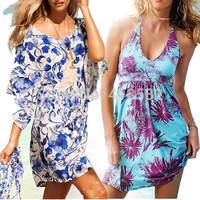 Y040-- Hot fashion women sexy bikini Dresses Beach Cover Up V-neck Ladies  flower dress free shipping