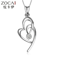 ZOCAI BRAND SOFT HEART WOMAN PD950 0.01 CT DIAMOND PENDANT WITH 925 STERLING SILVER CHAIN