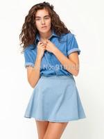 2014 New Women's Vintage High Waist Denim A-line Skirt Bust Skirt Short Skirt S M L Free Shipping