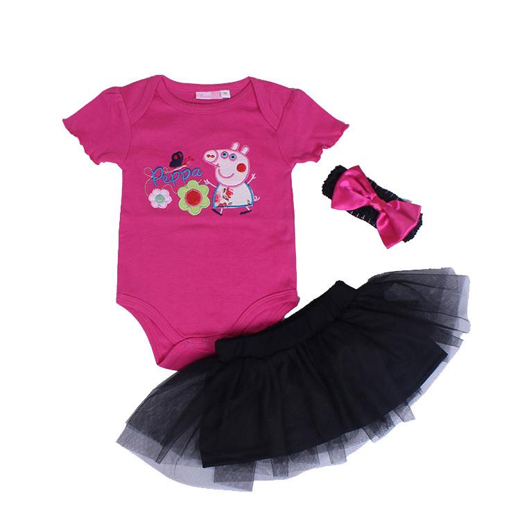 peppa pig baby clothing set baby girl 3 pcs set Romper +Tutu Skirt + Headband 3pcs set Polka-dot princess clothes infant outfits(China (Mainland))