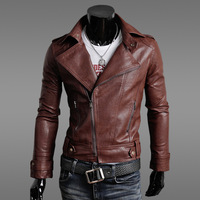Free Shipping NEW 2014 The new Korean men Slim Men 's leather motorcycle jacket leather men